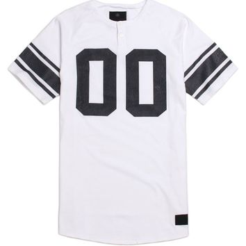 On The Byas Jet Raglan Henley T-Shirt - Mens Tee - White -