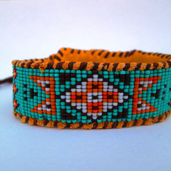 Wetlands Native American Inspired, Beaded Blue, Orange and Brown Cuff Bracelet on Deer Hide