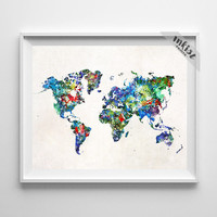 World Map Art, World Map Poster, Art Print, Watercolor Painting, Wall Art, Watercolor Art, Wall Decor, Travel Poster, Type 3, Dorm Art