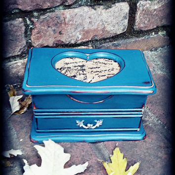 Shabby chic jewelry box, Distressed jewelry box, rustic jewelry box, teal jewelry box, gifts for women, girls gift idea