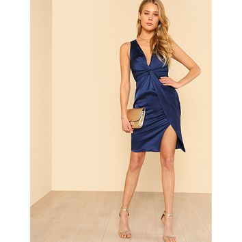 Twist Front Wrap Satin Dress