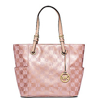MICHAEL Michael Kors Signature Jet Set Metallic Checkerboard Tote