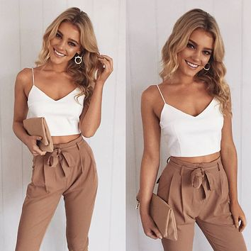 Spaghetti Straps Crop Top with Skinny Pants Two Pieces Set