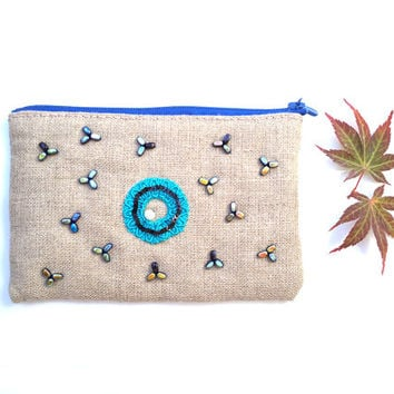 Natural linen make up bag  -  zipper pouch  - cosmetic case. Turqueoise blue beads, hand embroidered.OOAK