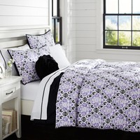 Decorator Damask Super Pouf Comforter + Sham, Purple Black