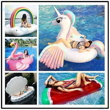 Inflatable horse Giant Pool Float Swim Ring Pegasus Floating Adult Lifebuoy Women Swim Float island pool beach air mattress
