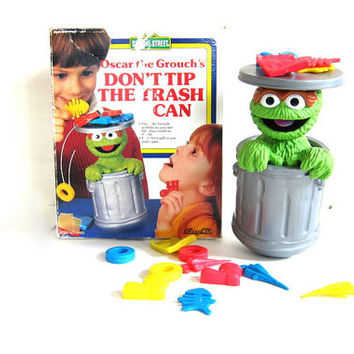 vintage Don't Tip the Trash Can Oscar the Grouch game / 1988