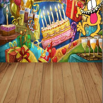 8x12ft vinyl cloth cartoon birthday wall photography backdrops for party photo studio portrait backgrounds props S-1019a