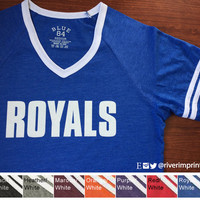 ROYALS Raglan Short Sleeve T-shirt with YOUR CHOICE of team name