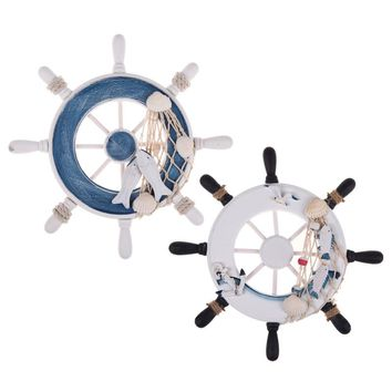 """9""""Beach Wooden Boat Ship Rudder Fishing Net Home Wall Nautical Decorations wheel Wood Craft Gift Home Decoration white/blue"""