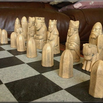 Authentic British Museum Replica Isle of Lewis Chess Set plus two extra Queens