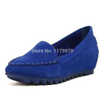 Newly Women's Genuine Fur Loafers Inner Increase Single shoes Loafers Shoes for Pregnant Woman Anti-Slip Genuine Leather Shoes