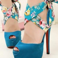 Blue Floral Ankle Wrap Heels from ZmartFashionOutlet