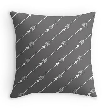 Charcoal Gray Arrows Decorative Throw Pillow, Minimalist, 16x16, 18x18, 20x20