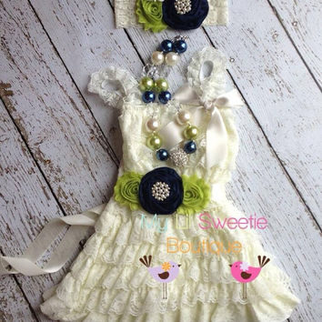 New ivory navy green 4 piece set, dress,  necklace, sash, headband, birthday outfit, infant outfit, special occasion dress, toddler dress