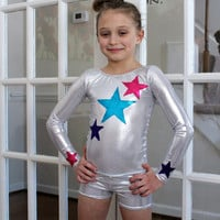 Long Sleeve Leotard For Dance or Gymnastics With Stars 2t, 3t, 4t, 5t, 6, 7, 8, 9, 10, 11, 12, 13, 14,