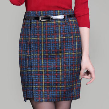 women Woolen skirts 2016 autumn and winter new lady high waist skirt female mini skirt fashion plaid skirts plus size 4XL