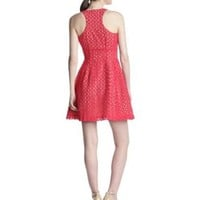BCBGMAXAZRIA Women's Guilanna Eyelet Fit and Flare Dress, Lipstick Red, 0