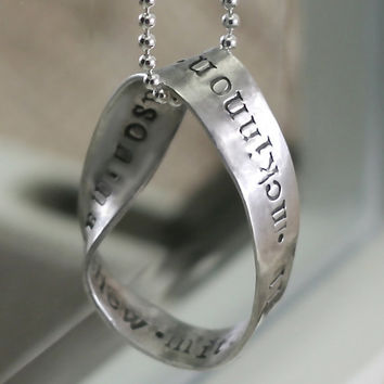 Personalized Family Necklace in a Fine Silver Möbius Ring