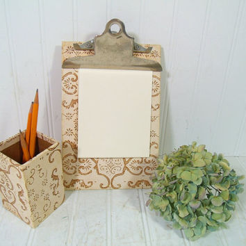 Bohemian Wallpaper Desk Set of 2 Pieces - Vintage Stenciled Paper Office Memo Clipboard with Matching Pen / Pencil / Accessories / Tools Box