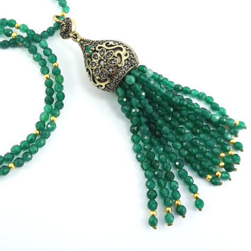 Ethnic Turkish Tassel Necklace Emerald Green Facet Jade Gemstone Statement Gypsy Hippie Bohemian Artisan - One Of A Kind