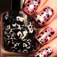 Hole Hearted - black and white heart nail polish
