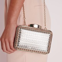 Missguided - Gold Caged Box Clutch