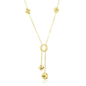 14K Yellow Gold Lariat Style Love Knot Station Chain Necklace