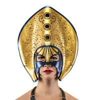 Swarovski crystal and pearl beaded gold, blue and black mask
