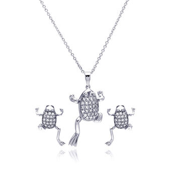 .925 Sterling Silver Rhodium Plated Clear Climbing Frog Cubic Zirconia Stud Earring &  Necklace Set: SOD