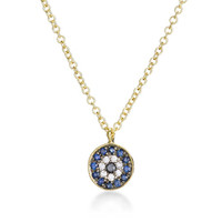 Miera T Evil Eye Diamond And Sapphire Necklace