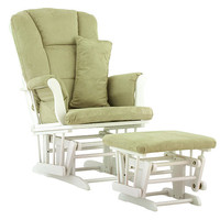 Stork Craft Custom Tuscany Glider and Ottoman - White/ Sage Fabric