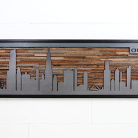 City skyline made from reclaimed barnwood and natural black steel