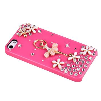 Bling Crystal Diamond Chip Cover Case for Apple iPhone 5 5S (Ballet MAGENTA)