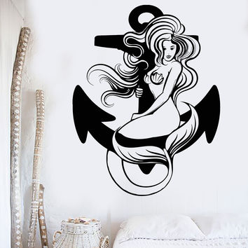 Vinyl Wall Decal Sexy Mermaid Anchor Ocean Sea Marine Style Stickers Unique Gift (1109ig)