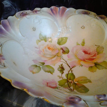 Gorgeous Vintage German Bowl Pink Yellow Roses Gold Trim Vintage China Shabby Chic Cottage Style