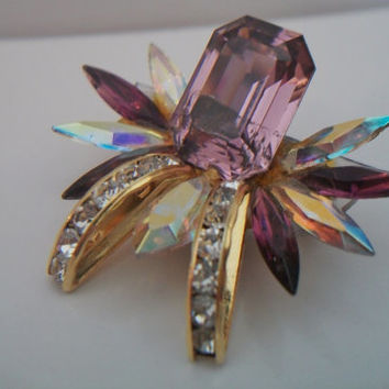 Vintage Purple Rhinestone Spider Brooch Pin