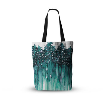 "Ebi Emporium ""Forest Through The Trees 5"" Teal White Everything Tote Bag"