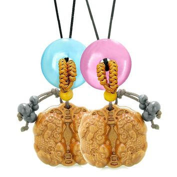 Double Dragon Car Charm Home DecBlue Pink Simulated Cats Eye Donut Love Couples Best Friend Amulets
