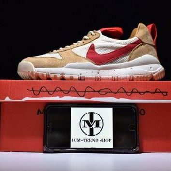 DCCK7JT Tom Sachs x NikeCraft Mars Yard 2. 0 Natural Sport Red Maple Men's Running Shoes Trainers