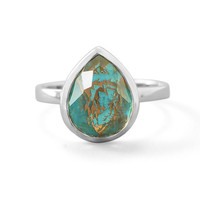 Sterling Silver Large Pear Freeform Quartz over Turquoise Stackable Ring