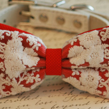 Lace Red Dog Bow Tie, Vintage Wedding, Pet wedding accessory, Vintage wedding idea, Red Wedding accessory, boho wedding, Victorian wedding