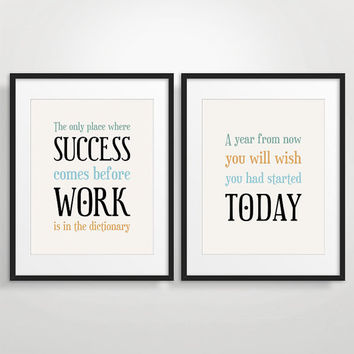 Office Decor Typography Posters Inspirational Quote Art by evesand