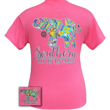 Girlie Girl Originals Southern Aztec Happy & Preppy Elephant Pink T Shirt