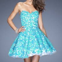 Strapless Lace Dress by La Femme
