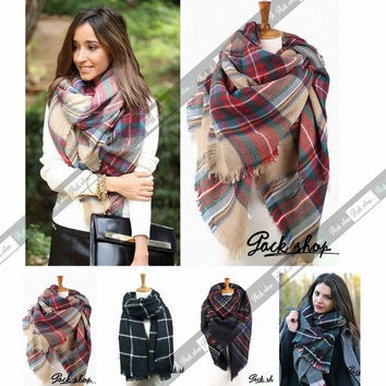 2014 Winter Fashion Vintage Wool Blend Scarf Women Blanket Oversized Plaid Tartan Wrap Shawl = 1957988804