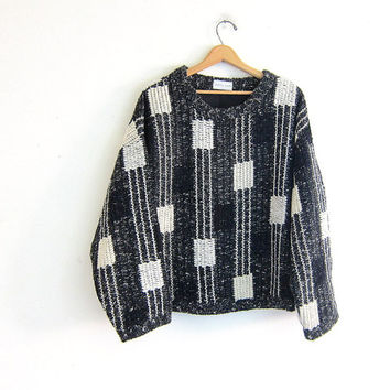 Vintage Allen Wah oversized sweater. Preppy knit sweater.  knit lambswool sweater