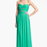 Max & Cleo Lace Detail Crinkled Chiffon Gown   Nordstrom