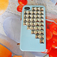 Fashion blue hard Case cover with silver pyramid for iPhone 4 case,iPhone 4S case, iPhone 4GS case  SJK-1896