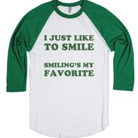 Buddy the Elf Loves to Smile-Unisex White/Evergreen T-Shirt